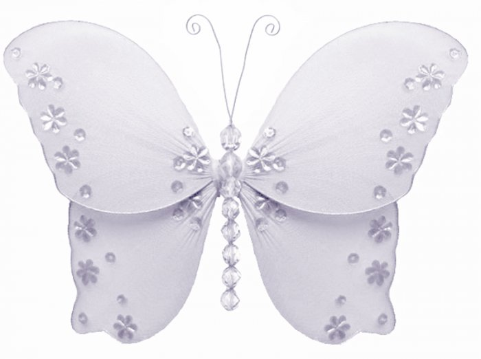 "10"""" White Twinkle Bead Sequin Butterfly - nylon hanging ceiling wall baby nursery room wedding deco"
