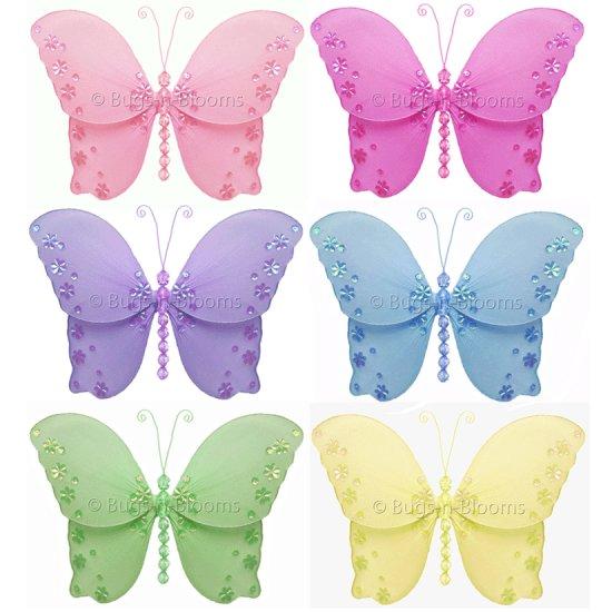 """10"""""""" Lot Twinkle Butterflies 6 piece Set butterfly (Pink, Dark Pink (Fuschia), Purple, Yellow, Blue,"""