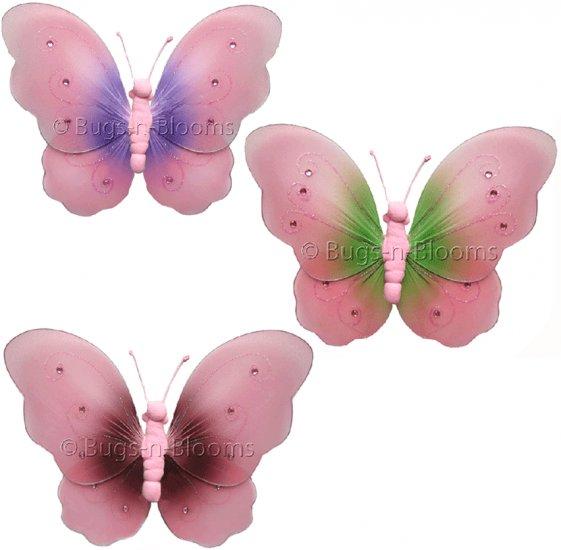 "5"""" Lot Two-Tone Butterflies 3 piece Set butterfly (Pink & Green, Pink & Brown, Pink & Purple) - nyl"