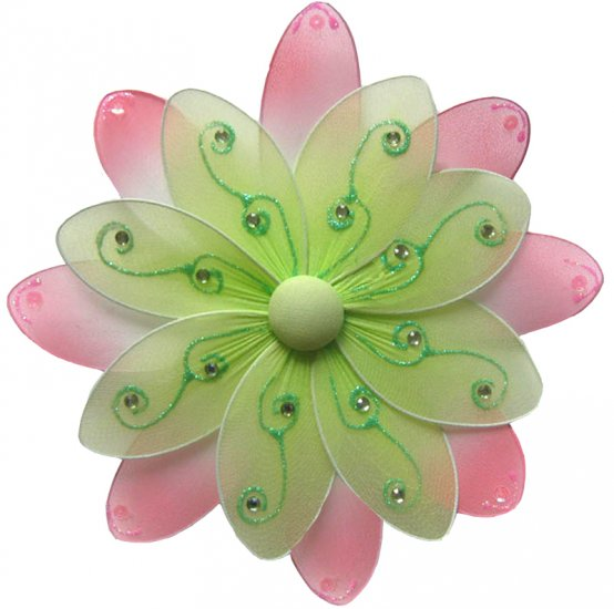 "6"""" Green & Pink Two-Tone Daisy Flower - nylon hanging ceiling wall baby nursery room wedding decor"
