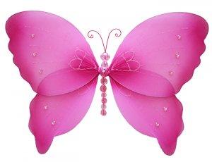 "10"""" Dark Pink (Fuschia) Crystal Butterfly - nylon hanging ceiling wall nursery bedroom decor decora"