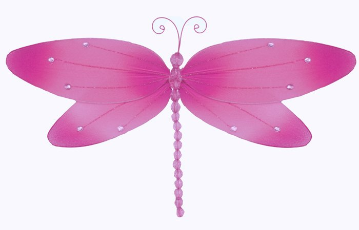"10"""" Dark Pink (Fuschia) Crystal Dragonfly - nylon hanging ceiling wall nursery bedroom decor decora"