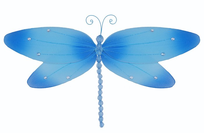 """7"""""""" Blue Crystal Dragonfly - nylon hanging ceiling wall nursery bedroom decor decoration decorations"""
