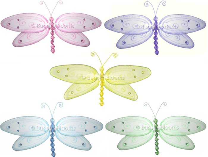 "13"""" Lot Glitter Dragonflies 5 piece Set dragonfly - nylon hanging ceiling wall nursery bedroom deco"