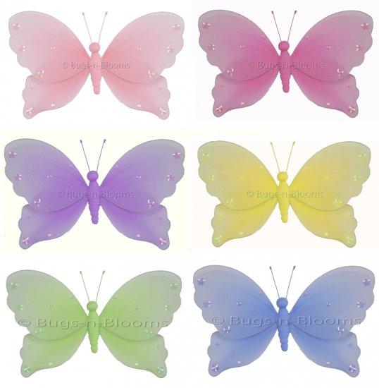 """5"""""""" Lot Jewel Butterflies 6 piece Set butterfly  - nylon hanging ceiling wall nursery bedroom decor"""