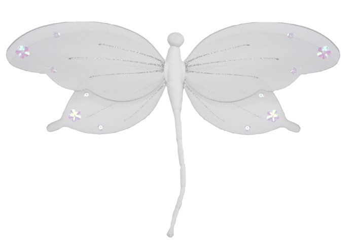 """10"""""""" White Jewel Dragonfly - nylon hanging ceiling wall nursery bedroom decor decoration decorations"""
