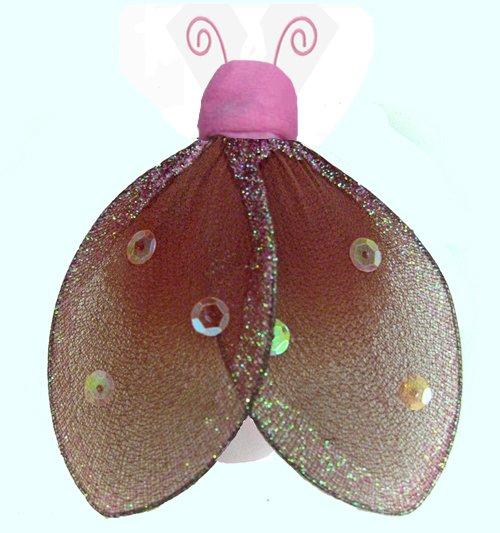 "8"""" Brown Pink Glitter Ladybug - nylon hanging ceiling wall nursery bedroom decor decoration decorat"