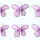 "2"""" Purple Mini Glitter Butterfly Butterflies 6pc set - nylon hanging ceiling wall nursery bedroom d"
