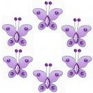 """2"""""""" Purple Mini Bead Butterfly Butterflies 6pc set - nylon hanging ceiling wall nursery bedroom deco"""