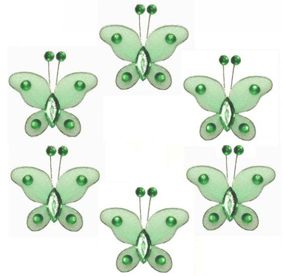 "2"""" Green Mini Bead Butterfly Butterflies 6pc set - nylon hanging ceiling wall nursery bedroom decor"