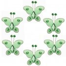 "2"""" Green Mini Bead Butterfly Butterflies 6pc set - nylon hanging ceiling wall nursery bedroom decor"