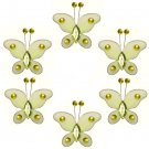 "2"""" Yellow Mini Bead Butterfly Butterflies 6pc set - nylon hanging ceiling wall nursery bedroom deco"