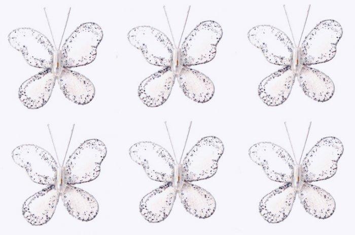 """2"""""""" White Mini Glitter Butterfly Butterflies 6pc set - nylon hanging ceiling wall nursery bedroom de"""