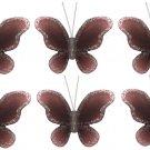 """2"""""""" Brown Mini Glitter Butterfly Butterflies 6pc set - nylon hanging ceiling wall nursery bedroom de"""