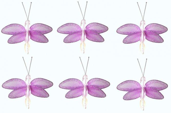 "2"""" Purple Mini Glitter Dragonfly Dragonflies 6pc set - nylon hanging ceiling wall nursery bedroom d"