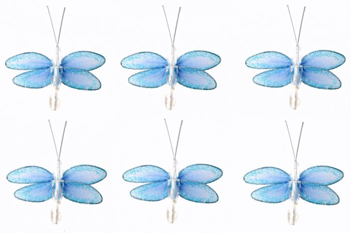 "2"""" Blue Mini Glitter Dragonfly Dragonflies 6pc set - nylon hanging ceiling wall nursery bedroom dec"
