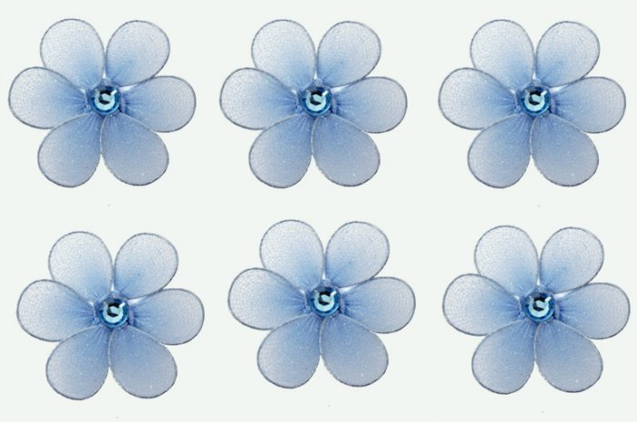 "2"""" Blue Mini Daisy Flower Daisies Flowers 6pc set - nylon hanging ceiling wall nursery bedroom deco"