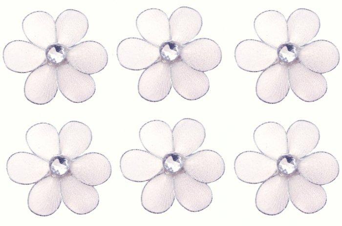 "2"""" White Mini Daisy Flower Daisies Flowers 6pc set - nylon hanging ceiling wall nursery bedroom dec"