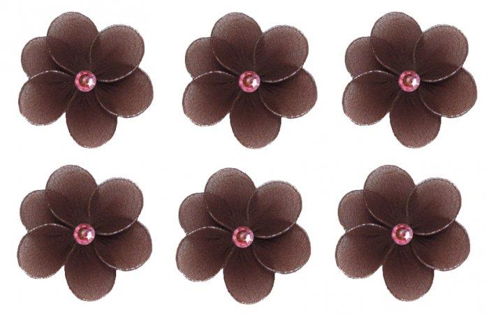 "2"""" Brown Pink Mini Daisy Flower Daisies Flowers 6pc set - nylon hanging ceiling wall nursery bedroo"