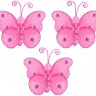 "3"""" Dark Pink (Fuschia) Mini Wire Bead Butterfly Butterflies 3pc set - nylon hanging ceiling wall nu"