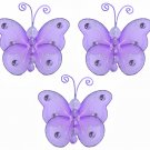 "3"""" Purple Mini Wire Bead Butterfly Butterflies 3pc set - nylon hanging ceiling wall nursery bedroom"
