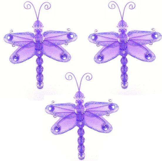 "3"""" Purple Mini Wire Bead Dragonfly Dragonflies 3pc set - nylon hanging ceiling wall nursery bedroom"