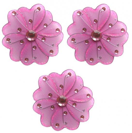 "4"""" Dark Pink (Fuschia) Mini Wire Daisy Flower Daisies Flowers 3pc set - nylon hanging ceiling wall"