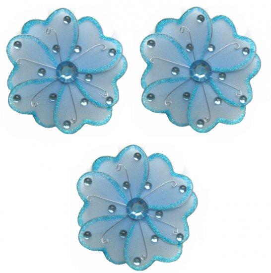 "4"""" Blue Mini Wire Daisy Flower Daisies Flowers 3pc set - nylon hanging ceiling wall nursery bedroom"