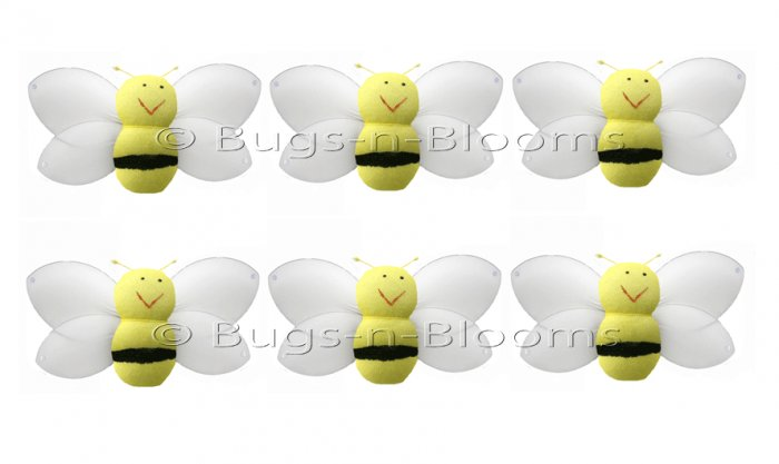 "2"""" Yellow Mini Smiling Bumble Bees 6pc set - nylon hanging ceiling wall nursery bedroom decor decor"