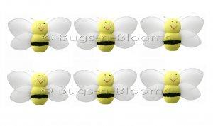 "2"""" Yellow Mini Smiling Bumble Bees 6pc set - nylon hanging ceiling wall nursery bedroom decor decor"