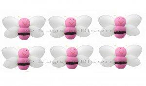 "2"""" Pink Mini Smiling Bumble Bees 6pc set - nylon hanging ceiling wall nursery bedroom decor decorat"