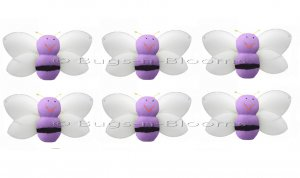 "2"""" Purple Mini Smiling Bumble Bees 6pc set - nylon hanging ceiling wall nursery bedroom decor decor"