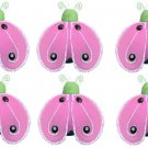 "2"""" Green Pink Mini Shimmer Ladybugs 6pc set - nylon hanging ceiling wall nursery bedroom decor deco"
