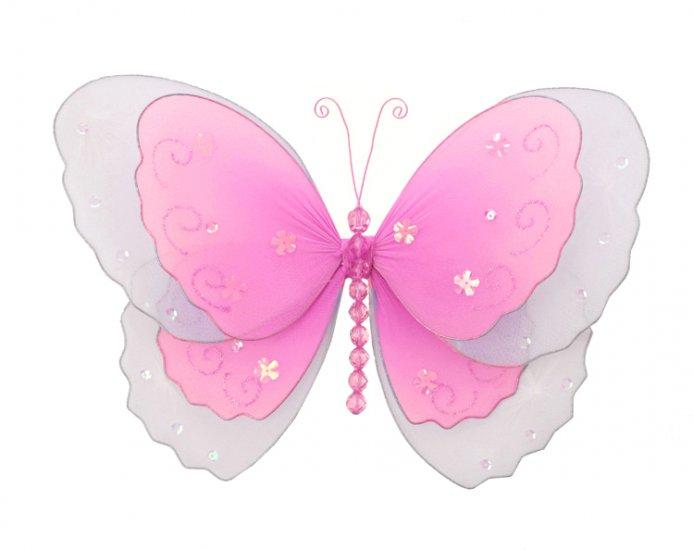 "10"""" Dark Pink (Fuschia) Multi-Layered Butterfly - nylon hanging ceiling wall nursery bedroom decor"
