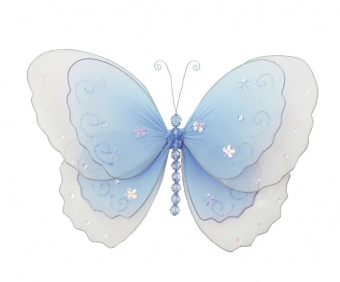 "10"""" Blue Multi-Layered Butterfly - nylon hanging ceiling wall nursery bedroom decor decoration deco"
