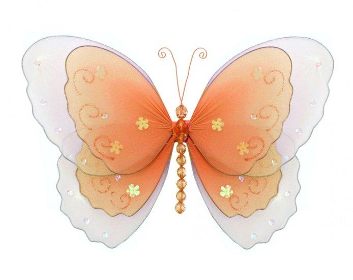 "13"""" Orange Multi-Layered Butterfly - nylon hanging ceiling wall nursery bedroom decor decoration de"