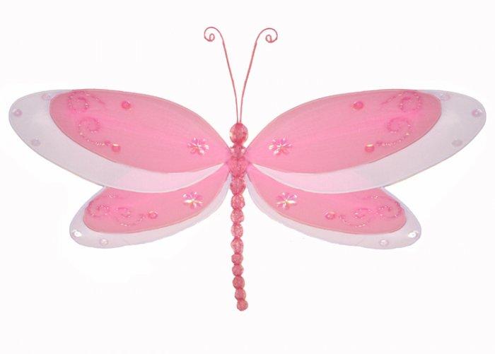 "5"""" Dark Pink (Fuschia) Multi-Layered Dragonfly - nylon hanging ceiling wall nursery bedroom decor d"