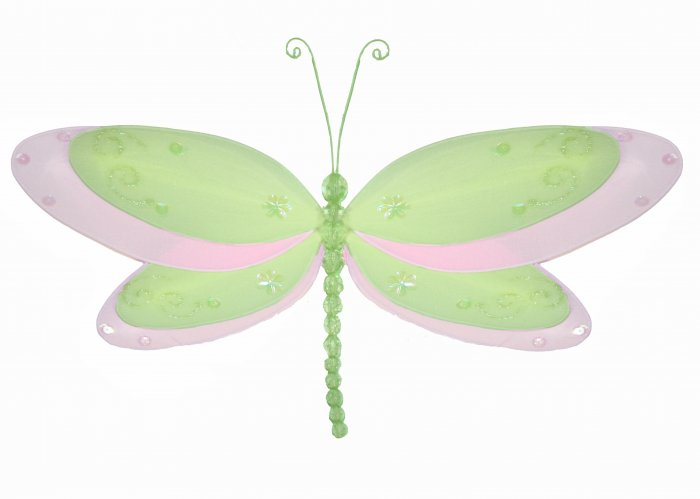 """5"""""""" Green Multi-Layered Dragonfly - nylon hanging ceiling wall nursery bedroom decor decoration deco"""