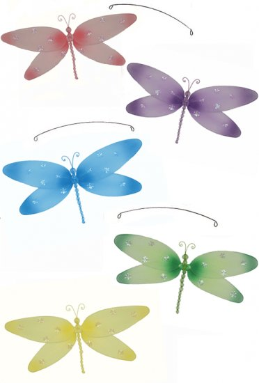 """24"""""""" Pink Purple Yellow Blue Green Sparkle Dragonfly Mobile - nylon hanging ceiling wall nursery bed"""
