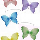 "24"""" Pink Purple Yellow Blue Green Crystal Butterfly Mobile - nylon hanging ceiling wall nursery bed"