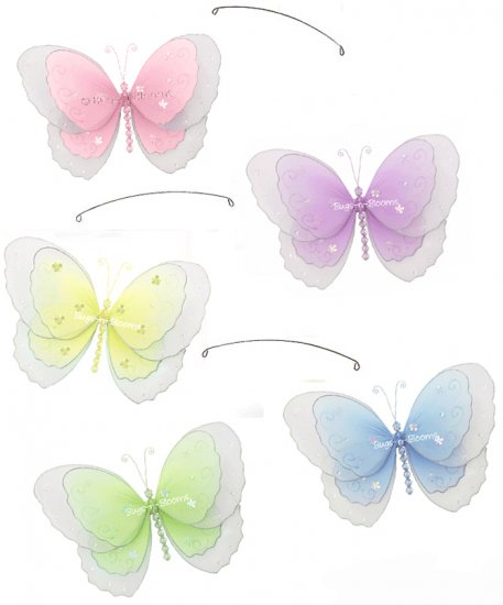 "24"""" Pink Purple Yellow Blue Green Multi Layered Butterfly Mobile - nylon hanging ceiling wall nurse"