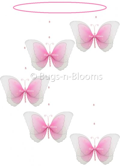 "24"""" Dark Pink (Fuschia) Multi Layered Spiral Butterfly Mobile - nylon hanging ceiling wall nursery"