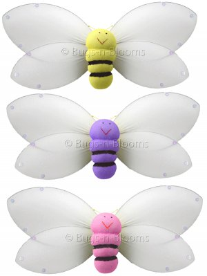 """13"""""""" Lot Smiling Bumble Bee 3 piece Set bees honey bee - nylon hanging ceiling wall nursery bedroom"""