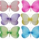 "7"""" Lot Sparkle Butterflies 6 piece Set butterfly  - nylon hanging ceiling wall nursery bedroom deco"