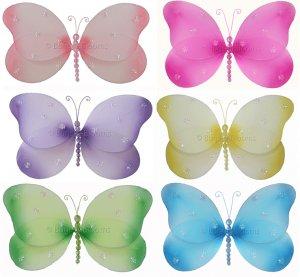 "7"""" Lot Sparkle Butterflies 6 piece Set butterfly  - nylon hanging ceiling wall nursery bedroom deco"