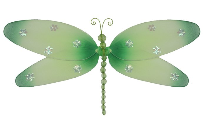 """7"""""""" Green Sparkle Dragonfly - nylon hanging ceiling wall nursery bedroom decor decoration decoration"""