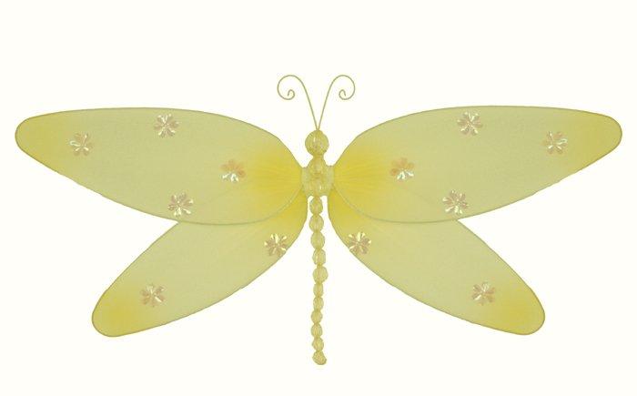"7"""" Yellow Sparkle Dragonfly - nylon hanging ceiling wall nursery bedroom decor decoration decoratio"