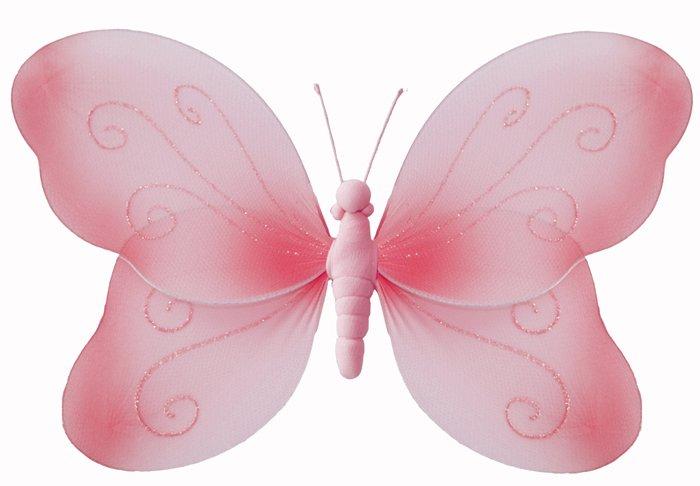 "7"""" Pink Swirl Glitter Butterfly - nylon hanging ceiling wall nursery bedroom decor decoration decor"