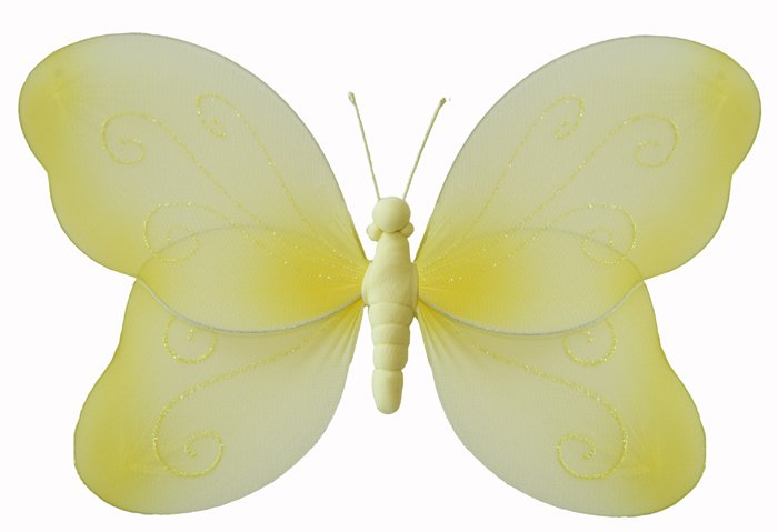 "7"""" Yellow Swirl Glitter Butterfly - nylon hanging ceiling wall nursery bedroom decor decoration dec"