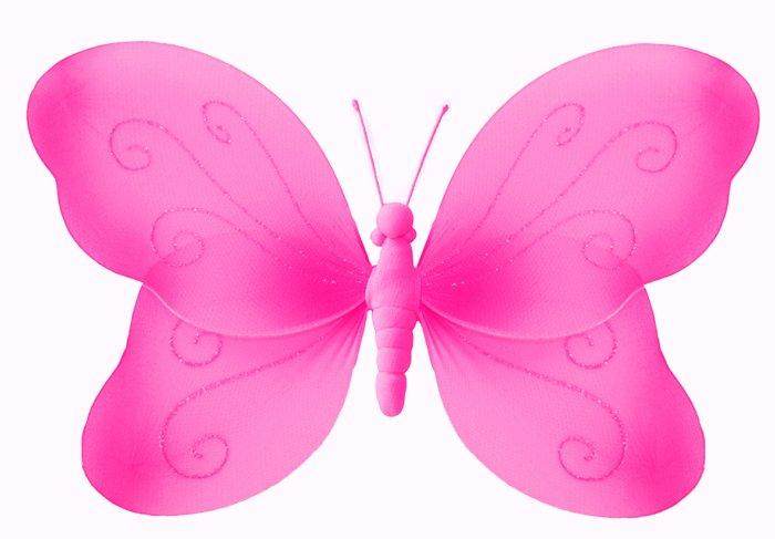 """7"""""""" Dark Pink (Fuschia) Swirl Glitter Butterfly - nylon hanging ceiling wall nursery bedroom decor d"""